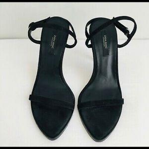 Zara black suede strappy sandals.